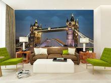 wholesale Eco-friendy 3d huge mural European famous bridge buliding view papel de parede for sofa tv living room wallpaper