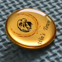 custom printed and epoxy badges with golden rim