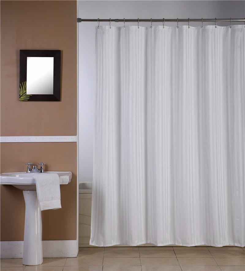 en stock amazon populaire bande conception tanche blanc polyester tissu de bain de douche sans. Black Bedroom Furniture Sets. Home Design Ideas