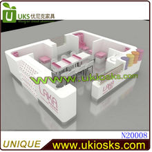 Customized attractive white pink beauty salon nail kiosk for manicure and pedicure in mall