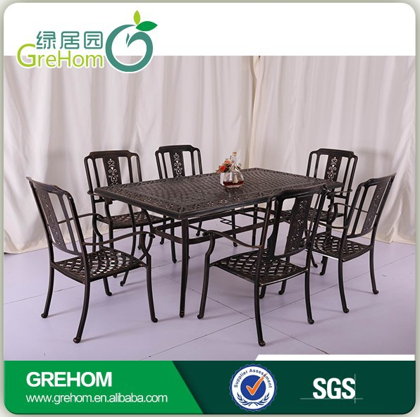 latest simple style antique design metal dining table and chair