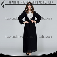 MD10009 Wholesale Muslim Islamic plus size dress long sleeve abaya gamis baju busana muslimah black embroidery dress