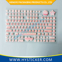 Various customized funny pink laptop keyboard skin sticker with epoxy dome