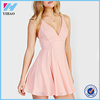 Yihao 2015 Summer New Designs Ladies Fashion Sexy Clothes High Street Casual Pink V Neck Spaghetti Strap Mini Dresses For Women