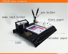 Dongguan acrylic table top calendar with name card holder /plexiglass desktop calendar /perspex calendar with pen holder