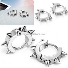 RDW Earrings Mens Silver Stainless Steel Spike Circle Heart Huggie Men Hoop Earrings Punk Cool Earrings for Men Boys Gifts