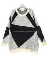 Girl's Geometric Shape Printed Pullover Knitted Sweater