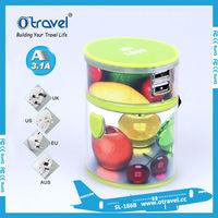 travel adapter AUS, UK, EU, USA travel plug conversion usb to ac converter plug