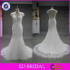 2015 High Quality Lace Appliqued Cap Sleeve Mermaid Ivory Alibaba Wedding Dress