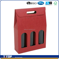 FSC Dongguan Factory Custom Made Cardboard 3 Pack Bottle Carrier