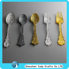 Gold And Silver Home Decor laser cut acrylic shapes, 3mm gold and silver glitter Acrylic spoon plastic spoon and forks
