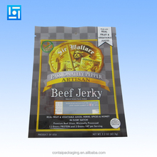 custom design ziplock stand up resealable aluminum foil vacuum plastic packaging bag printing for beef jerky/snack food/dry food