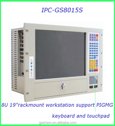 """Al-alloy 8U industrial chassis with 15"""" touch screen and keyboard"""