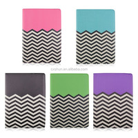 Wave Line Rotary Flip Stand PU Leather Tablet Cover Case For iPad air 2 With Elastic Belt (five colors)