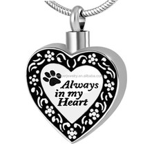SRP8480 Trend Pet Always in My Heart Paw Print Cremation Jewelry Stainless Steel Cremation Keepsake Urn Pendant