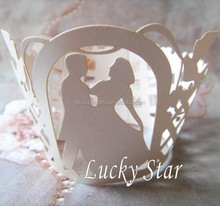 Ivory Bride&Groom laser cut pearl paper cake cup muffin cupcake wrapper for birthday wedding valentines day decoration
