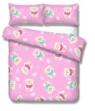 Polyester Printed Pink and Blue Bears Quilt / Pillow Cases Coral Bedding sets in Shaoxing
