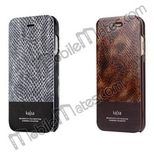 2015 kajsa Snake Skin Pattern Side Flip Stand PC+Genuine Leather Case for iPhone 6 4.7 inch with Card Slot