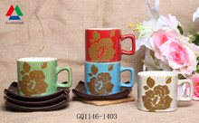 Best Selling reactive glaze coffee mug silkscreen printing cup and saucer