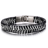 Newest Mens Weave Black&White Leather Bracelet Steel Clasp China Wholesale