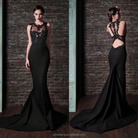 Mermaid Evening Dresses Black Lace High Neck Formal Sexy Backless Celebrity Prom Dress Long Train Vintage Ball Gowns J