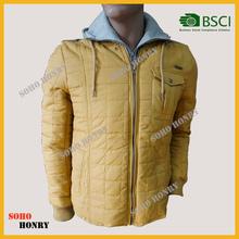 winter fashion men padded jacket with detachable hood