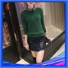The New Winter Korean Style Fashion Women's Clothing Bead Lapel Long-Sleeved Embellished Sweater