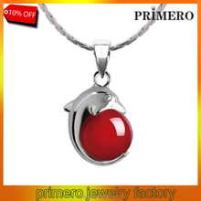 PRIMERO Garnet 925 Sterling Silver Necklace Dolphins hold beads Cheap Jewelry jade pendant necklace