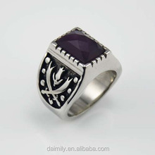 Unique Jewelry 316 L Stainless Steel set Cut eye Stone Man Ring