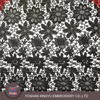 2016 Foshan the most professional embroidery factory 100% polyester chemical white and black chantilly lace