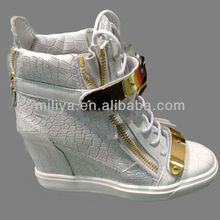 Popular style women sneakers black/gold snake leather high heel sneakers