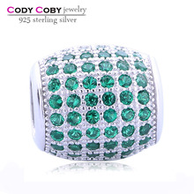 Rhodium Plated and 3A Green CZ Micro Pave beads 925 Sterling Silver Oval Shape ball Charms fit leather Snake Charm Bracelet