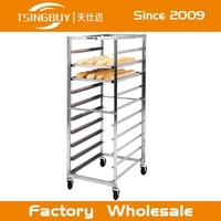 Stainless steel display oven baking trolley with heat-resistant wheels