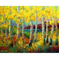 Newest Handmade Impressionist Textured Golden Autumn Tree Forest Natural Landscape Oil Painting on canvas, Autumn Jewels #88169