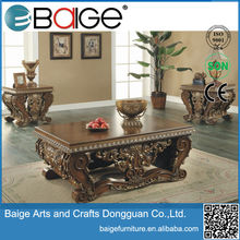 C1800B Good Quality french provincial wooden coffee tables coffee table fireplace glass and brass coffee tables