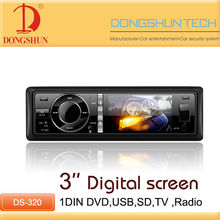 """Hot sale 3"""" digital screen 1 din car dvd player with TV"""