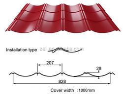 corrugated sheet metal roof tile /color galzed roofing tile YX28-207-828