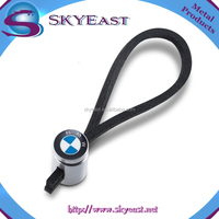 New Style Leather Loop with Shiny Epoxy Metal Key Ring Pendant