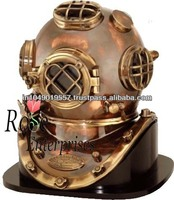 Nautical Copper Antique Diving Helmet With wooden Base