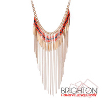 Gold Long Chain Tassel Necklace N1-57208