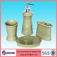 Ceramic green bathroom accessories sets for houseware