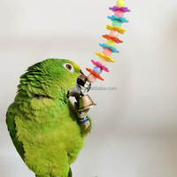 Colorful Wooden Plastic Hanging Bird Toys Parrot Cage Flower Chewing Playing Bell Toy Budgie Cockatoo