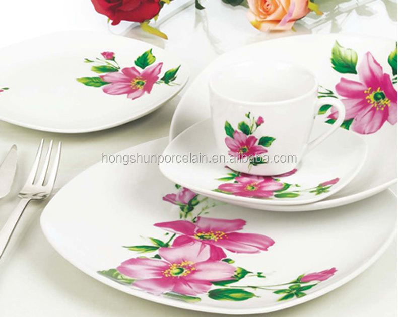30pcs square fine porcelain dinner set cheap wholesale 30pcs square