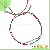 Wholesale Cheap New Design Adjustable Cotton String Engravable Bracelet with Bead