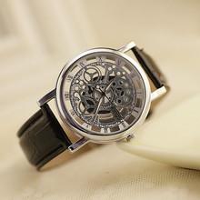 2015Brand xfcs luxury kings Round Dial gent time Unique Designer Skeleton male gold wrist watch Leather strap Quartz