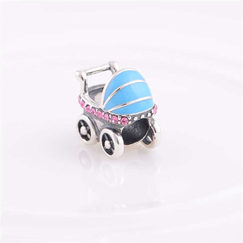 baby carrier charm with Austrian Crystal European beads 925 sterling silver diy beads Fits bracelets GW Fine Jewelry YZ327