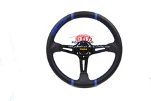 350mm deep dish MOMO leather steering wheel with momo horn button
