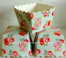 Wholesale Red floral blue square muffin case baking Paper Cup