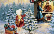 Modern wall hanging decoration painting of christmas little christmas trees and girl oil painting