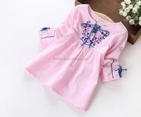 2015 New Style children's embroidered national wind cotton girls long sleeve t-shirt